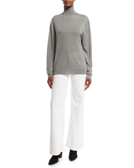 143 High-Rise Wide-Leg Jeans, White