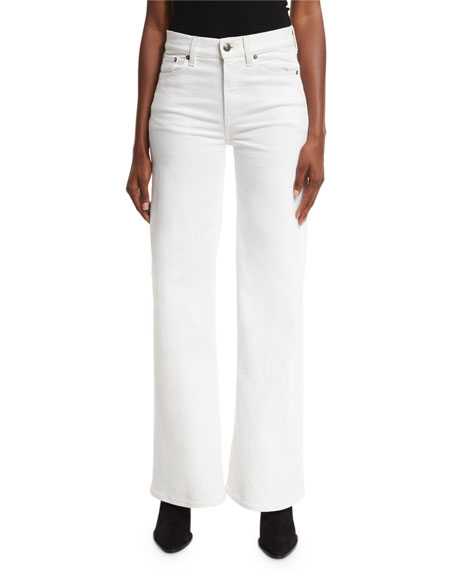 143 High-Rise Wide-Leg Jeans, White