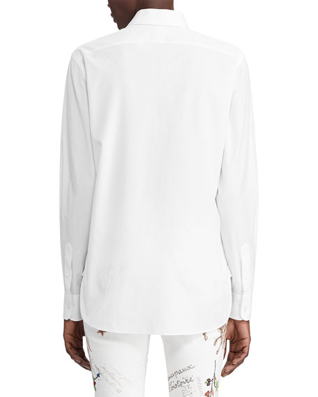High-Low Cotton Boyfriend Blouse, White
