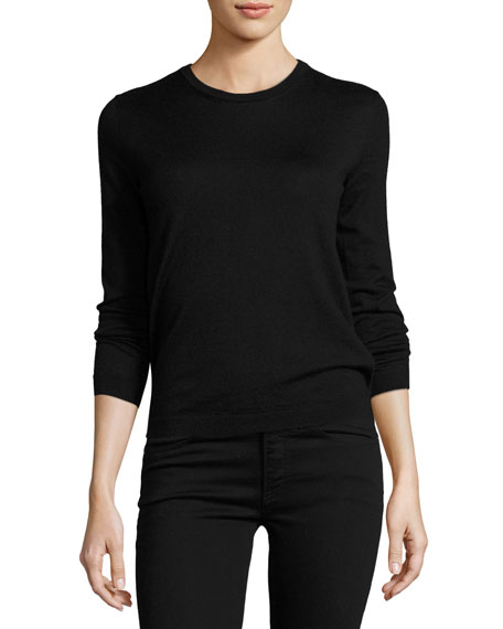 Long-Sleeve Cashmere Crewneck Sweater, Black