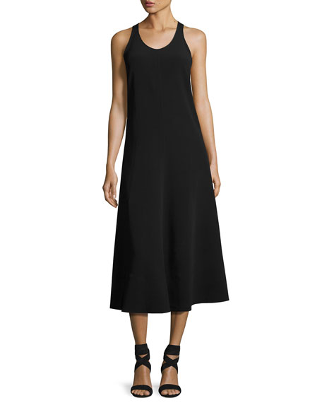 Penn Sleeveless Ribbon-Strap Midi Dress, Black