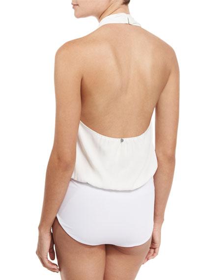 Cybil Cowl-Neck Halter Bodysuit