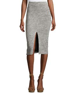 Spiga Slit-Front Knit Midi Pencil Skirt, Gray