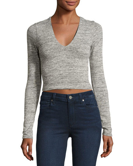 Jori V-Neck Long-Sleeve Crop Top, Gray