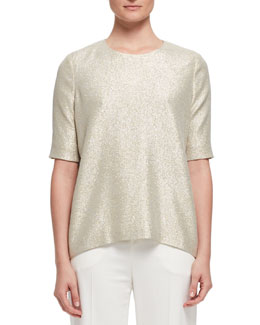 Shimmery Half-Sleeve Top