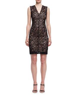 Lace V-Neck Sheath Dress, Black