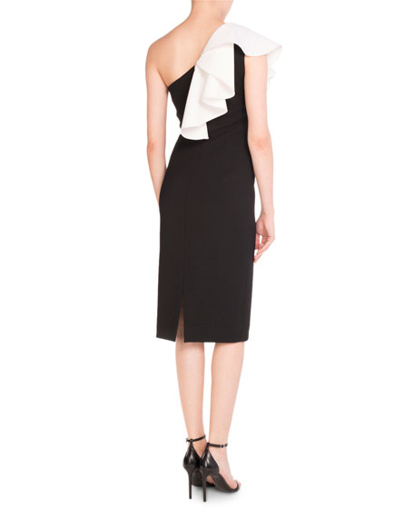 Ruffled One-Shoulder Sheath Dress, Black/White