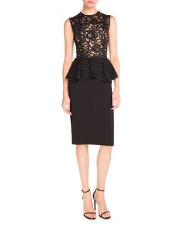 Sleeveless Lace Peplum Pencil Dress, Black