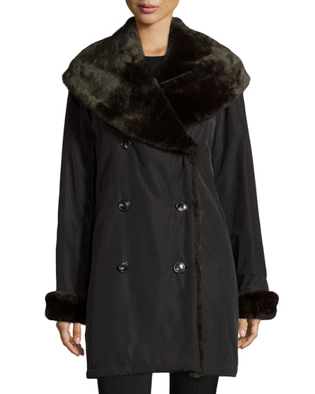 Faux-Fur-Trim Double-Breasted Coat, Black/Brown