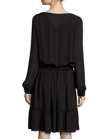 Marla Tiered Silk Dress w/ Embroidered Yoke, Black