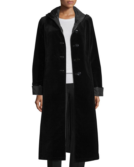 Hooded Velvet Midi Coat, Black