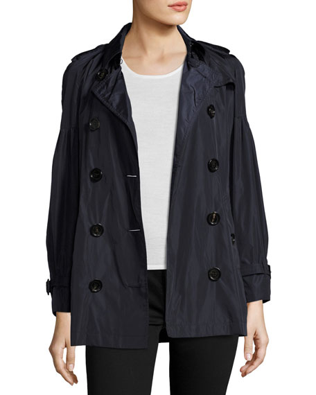 Middlemere Bell-Sleeve Short Trench Coat, Navy