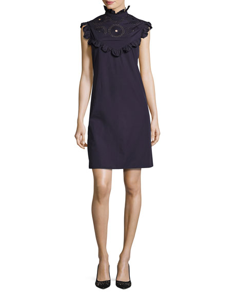 Ruffled Mock-Neck Shift Dress, Purple