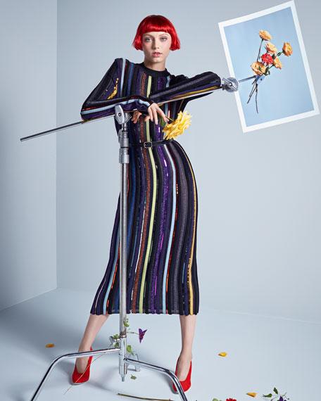 Embellished Striped Midi Dress, Multicolor Pattern