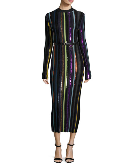 Embellished Striped Midi Dress, Multicolor Pattern