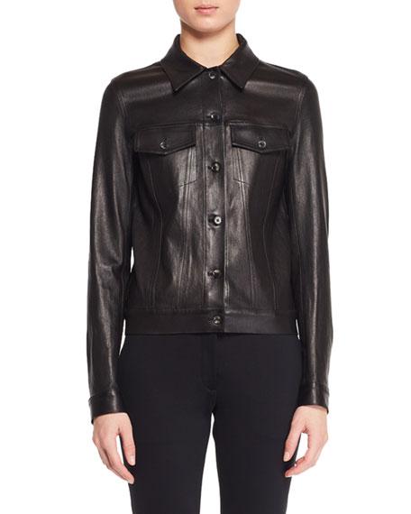 Coltra Lambskin Leather Jacket, Black