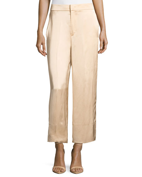 Helmut Lang Double Satin Wide-Leg Pants, Beige