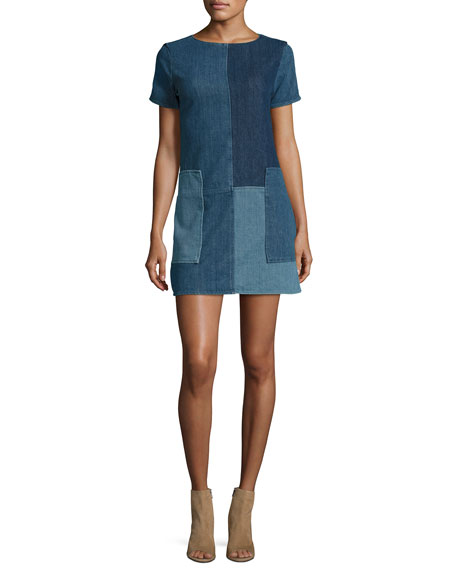 Luna Rosemary Patchwork Denim Shift Dress, Blue Pattern