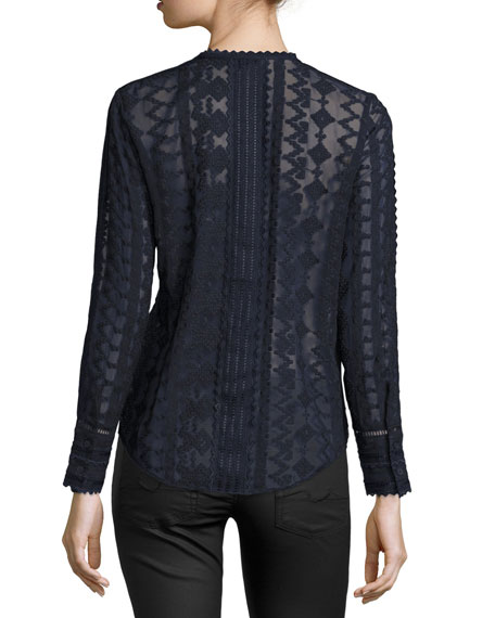 Embroidered Lace Chiffon Top, Dark Blue