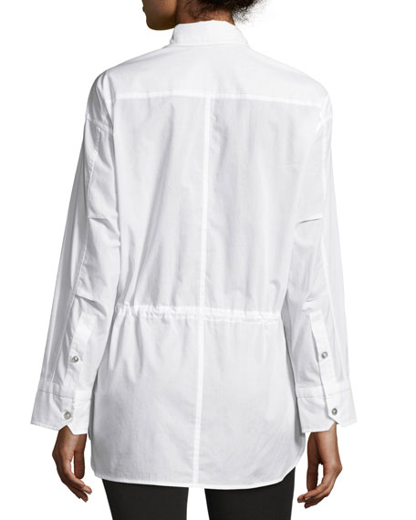 Lawn Cotton Drawstring-Waist Shirt, White