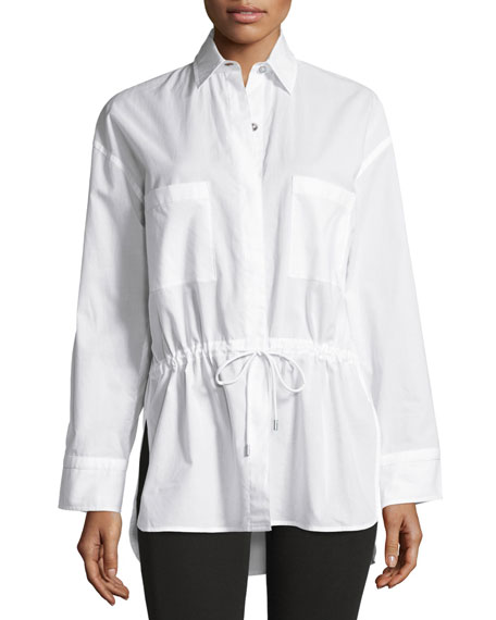 Lawn Cotton Drawstring-Waist Shirt, White