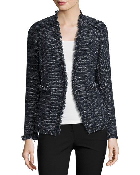 Rebecca Taylor Sparkle Tweed Open-Front Blazer
