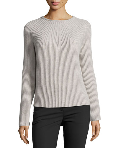 Ribbed Wool-Cashmere Bell-Sleeve Sweater, Gray