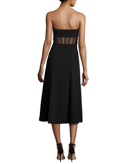 Honora Bustier Midi Dress, Black