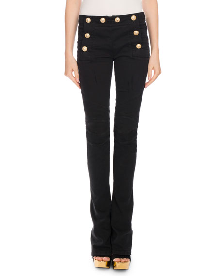 Sailor-Button Boot-Cut Jeans, Black