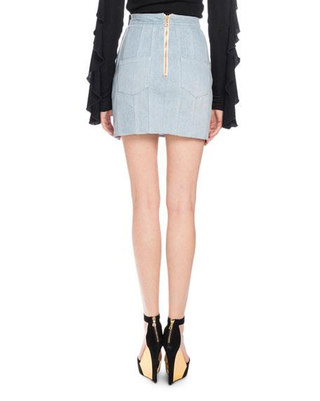 8a09a638bf Balmain Denim Button-Detail Mini Skirt