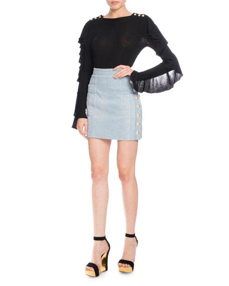 Denim Button-Detail Mini Skirt