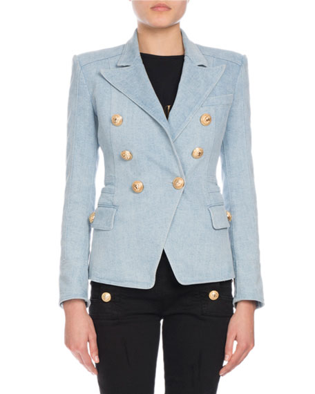 official store premium selection exclusive shoes Double-Breasted Denim Blazer