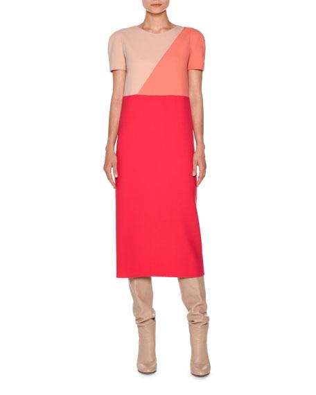 Short-Sleeve Geometric Midi Dress