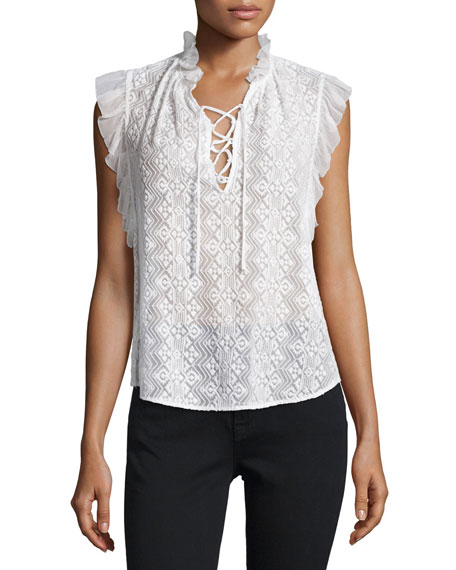 Florence Embroidered Lace-Up Top