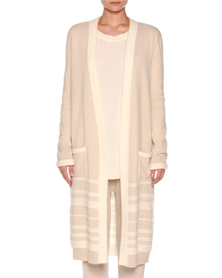 Long Striped Boucle Cardigan