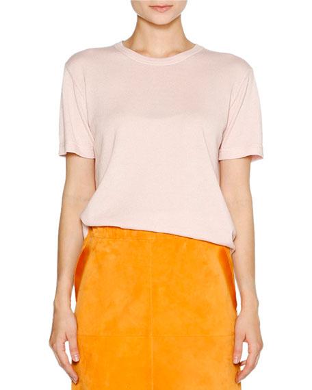 Cashmere Crewneck Short-Sleeve Sweater, Pink