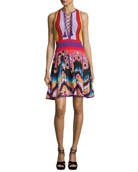 Roberto Cavalli Crocheted Lace-Up Combo Dress, Multi
