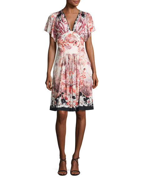 Roberto Cavalli Floral-Print Flutter-Sleeve V-Neck Dress, Black