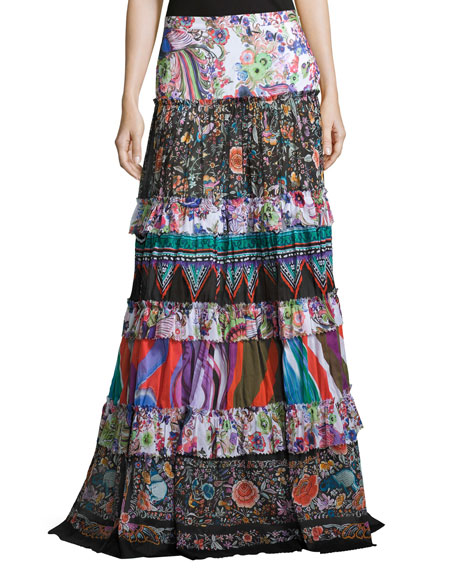Mixed-Print Tiered Maxi Peasant Skirt, Multicolor