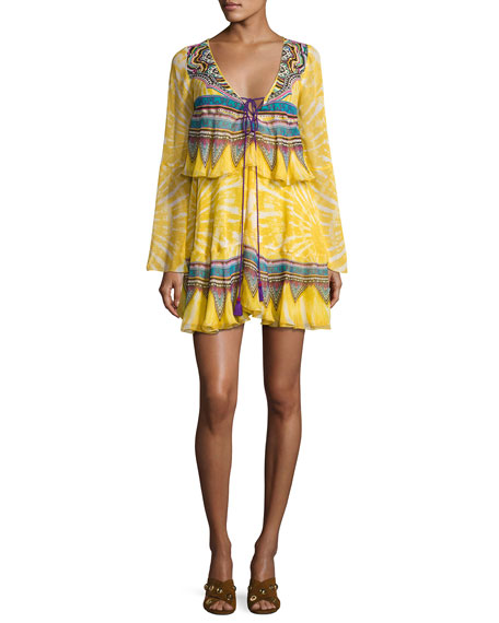 Layered Mixed-Print Tie-Front Dress, Yellow