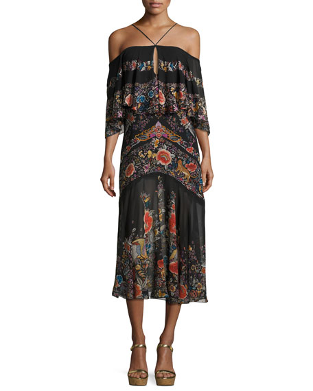 Floral-Print Cold-Shoulder Midi Dress, Black
