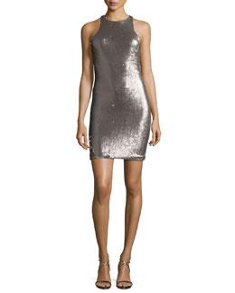 Racerback Sequined Sheath Dress, Silver