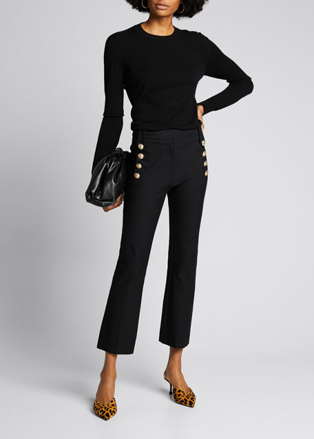 Derek Lam 10 Crosby Pants CROPPED FLARE TROUSERS W/ SAILOR BUTTONS, MIDNIGHT