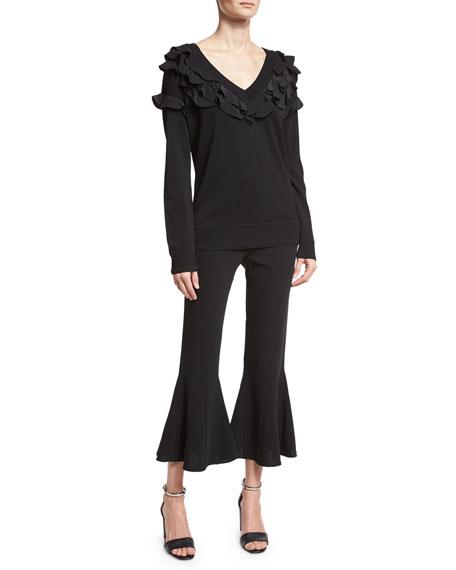 Zuri Cropped Kick-Flare Bell Pants, Black