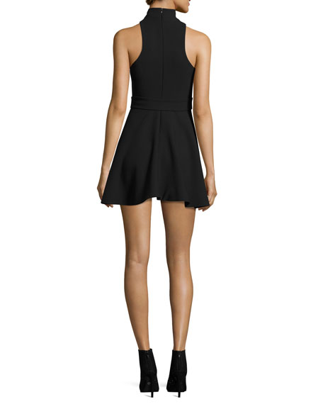 Juni Belted Mock-Neck Mini Dress, Black