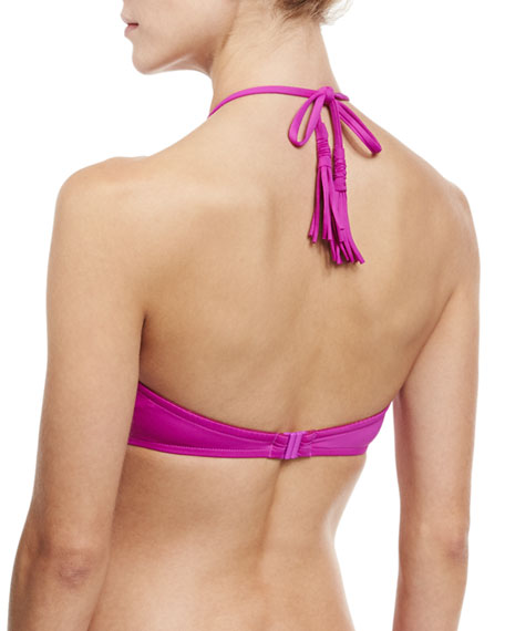 Wrap-Front Bandeau Swim Top, Fuchsia