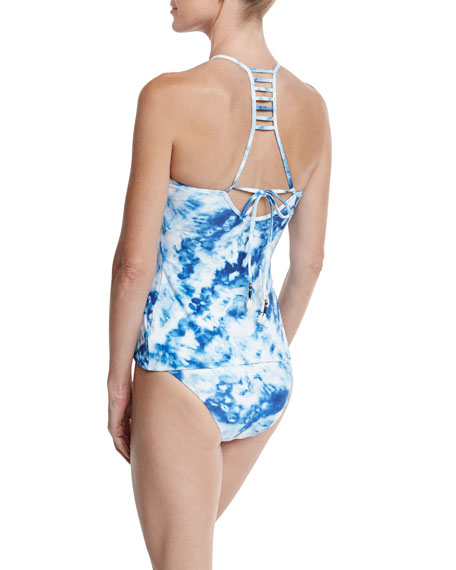 Caribbean Ink Reversible High-Neck Tankini Swim Top, Blue/White