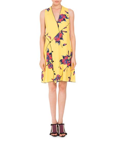 Floral Sleeveless V-Neck Dress, Multi
