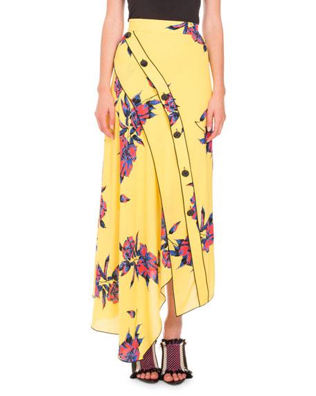 Lily-Print Asymmetric-Button Skirt