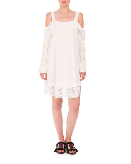 Proenza Schouler Cottons COLD-SHOULDER EYELET-HEM DRESS, BLACK
